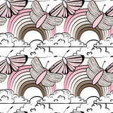 Modelo inconsútil con la mariposa ilustración del vector