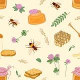 Modelo inconsútil con la miel, las abejas, el panal, el tilo, el acacia, las plantas del trébol, el tarro y el cazo en fondo lige Ilustración del Vector