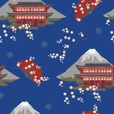 Modelo inconsútil con la pagoda asiática, con una montaña, flores de cerezo, fans libre illustration