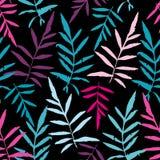 Modelo inconsútil con la palma de helecho tropical de las hojas para la materia textil de la moda o el fondo del web Silueta púrp stock de ilustración