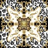 Modelo inconsútil con la piel del leopardo y los elementos barrocos de oro Vector stock de ilustración