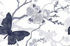 Modelo inconsútil con la rama de la mariposa y de la cereza ilustración del vector