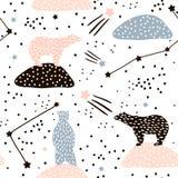 Modelo inconsútil con la silueta y constelaciones de los osos polares Perfeccione para la tela, materia textil Fondo del vector Imagen de archivo libre de regalías
