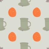 Modelo inconsútil con la taza y la naranja Imágenes de archivo libres de regalías