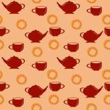 Modelo inconsútil con la tetera y taza roja y pretzel dulce Foto de archivo