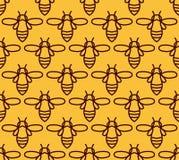 Modelo inconsútil con las abejas anaranjadas en el estilo de Monoline Imagen de archivo libre de regalías
