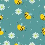 Modelo inconsútil con las abejas de la turquesa con las flores y los pétalos Fondo del vector libre illustration