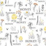 Modelo inconsútil con las abejas y las flores Diseño gráfico dibujado mano del garabato del vintage Modelo del bosquejo para la i ilustración del vector