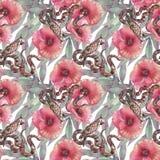 Modelo inconsútil con las amapolas y Kakadu y pitón Ambientes tropicales Ilustración de la acuarela stock de ilustración