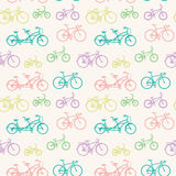 Modelo inconsútil con las bicicletas dibujadas mano Imagen de archivo