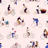 Modelo inconsútil con las bicis o los ciclistas que montan de la gente Contexto con los hombres y las mujeres en las bicicletas V stock de ilustración