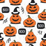 Modelo inconsútil con las calabazas para el día de Halloween libre illustration