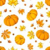 Modelo inconsútil con las calabazas y las hojas de otoño. Foto de archivo libre de regalías