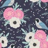 Modelo inconsútil con las camelias rosadas, las flores blancas de la anémona, molinero polvoriento, el gypsophila y los pájaros stock de ilustración
