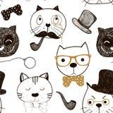 Modelo inconsútil con las caras de los gatos Fondo divertido de los gatos del garabato Ilustración del vector Fotografía de archivo