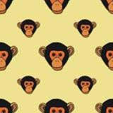 Modelo inconsútil con las caras lindas de monos Foto de archivo