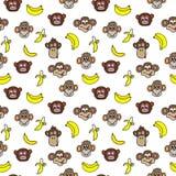 Modelo inconsútil con las caras lindas de monos y de plátanos Embroma el fondo Imagen de archivo