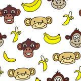 Modelo inconsútil con las caras lindas de monos y de plátanos Embroma el fondo Imagenes de archivo