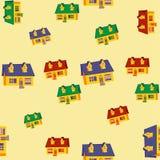 Modelo inconsútil con las casas Diseño plano Imagen de archivo