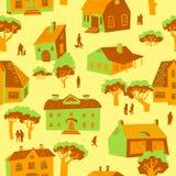 Modelo inconsútil con las casas Ejemplo lindo del vector de la ciudad arco ilustración del vector