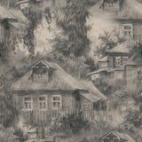 Modelo inconsútil con las casas en pueblo, paisaje del campo, bosquejo dibujado mano del ejemplo libre illustration