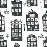 Modelo inconsútil con las casas escandinavas del esquema stock de ilustración