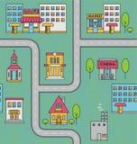 Modelo inconsútil con las casas, los caminos y los árboles Foto de archivo libre de regalías