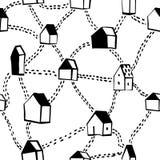 Modelo inconsútil con las casas y los caminos Fotografía de archivo libre de regalías