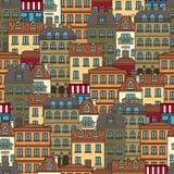 Modelo inconsútil con las casas y los edificios del ejemplo del vector de París stock de ilustración