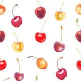 Modelo inconsútil con las cerezas y las cerezas dulces Foto de archivo libre de regalías