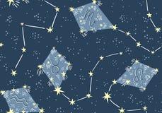 Modelo inconsútil con las cometas en el cielo de la estrella Diseño de la tela de la astrología de la noche del vector ilustración del vector
