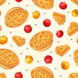 Modelo inconsútil con las empanadas y las manzanas de manzana Ilustración del vector Imágenes de archivo libres de regalías