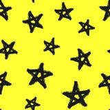 Modelo inconsútil con las estrellas dibujadas a mano Grunge, pintada, watercolour, bosquejo stock de ilustración