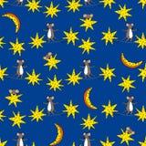 Modelo inconsútil con las estrellas, la luna y los ratones Imágenes de archivo libres de regalías