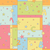 Modelo inconsútil con las estrellas, las letras y los números Imagen de archivo libre de regalías