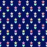 Modelo inconsútil con las estrellas y los corazones dibujados mano multicolora libre illustration