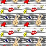 Modelo inconsútil con las etiquetas engomadas del arte pop con los labios, mano, ojo, corazón, relámpago stock de ilustración