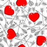 Modelo inconsútil con las flechas y los corazones stock de ilustración