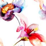 Modelo inconsútil con las flores Fotografía de archivo libre de regalías