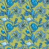 Modelo inconsútil con las flores - amapola y guisante de olor en colo azul libre illustration