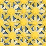Modelo inconsútil con las flores amarillas en un fondo azul Fotografía de archivo