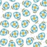 Modelo inconsútil con las flores azules lindas Fotografía de archivo libre de regalías
