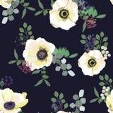 Modelo inconsútil con las flores, las bayas y el verdor blancos de la anémona en fondo oscuro Diseño floral del invierno para cas libre illustration