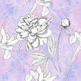 Modelo inconsútil con las flores blancos y negros Foto de archivo libre de regalías