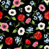 Modelo inconsútil con las flores coloridas en negro Ilustración del vector Fotos de archivo