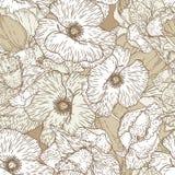 Modelo inconsútil con las flores de la amapola Foto de archivo libre de regalías