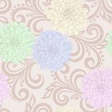 Modelo inconsútil con las flores de la dalia y los remolinos florales abstractos Foto de archivo