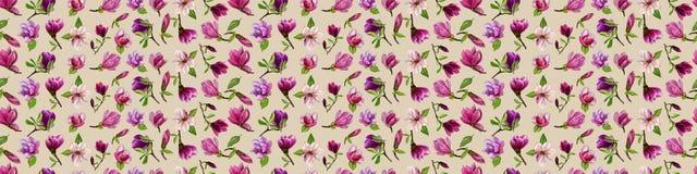 Modelo inconsútil con las flores de la magnolia en un fondo coloreado Watercolour pintado a mano libre illustration