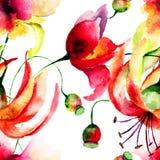 Modelo inconsútil con las flores del lirio y de la amapola Foto de archivo libre de regalías