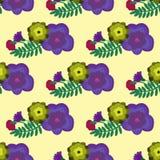 Modelo inconsútil con las flores digfferent en el fondo ligero Imagen de archivo libre de regalías